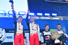 Jari Matti Latvala and Mikka Anttila celebrate their victory at WRC Sweden. Photo / Getty Images