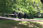 Police have cordoned off a large area of Christchurch's Hagley Park, including a popular walking track, as they work to identify the body. Photo / Anastasia Hedge