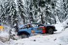 Hayden Paddon and John Kennard in action in Sweden overnight. Photo / McKlein Images.
