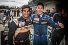 NZ Grand Prix winner Jehan Daruvala and TRS champion Thomas Randle celebrate. Photo / Matthew Hansen