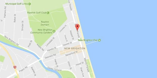 The fire service was called to Marine Parade, New Brighton just after 6pm to find several sand dunes ablaze. Photo / Google