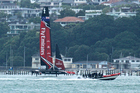 Team New Zealand's new AC50 sailing for the first time from the team's base in Auckland. Photo/Photosport
