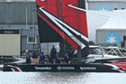 Emirates Team New Zealand's new AC50 was launched in February. The crew are sitting on the new cycle grinder pedestals. Photo / Photosport