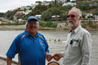 Murray Ware and ranger Dave Westcott. Mr Ware has provided a defibrillator for John Coull Hut up the river.
