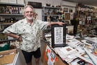 Artist Dick Frizzell in his studio with the art with for his new community fundraising project called Freezzell 4 your Community. Photo / Jason Oxenham