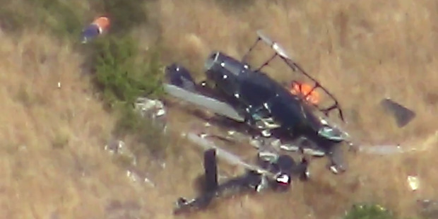 Loading Wreckage of a helicopter crashed in the Port Hills. Photo / Supplied
