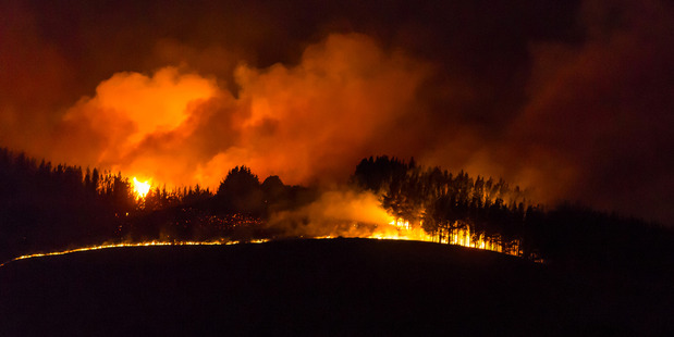 Fire rips through the Port Hills on Wednesday night. Photo / Peter Walker