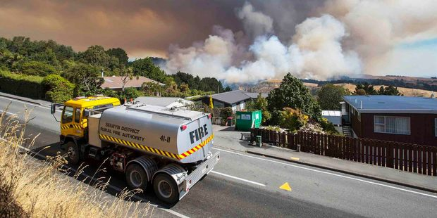 Fire rages in the Adventure Park area of the Port Hills, Christchurch. Photo / CCC Newsline