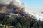 The Port Hills fire, as seen from Halswell, Christchurch. Photo / Twitter user @ezbear