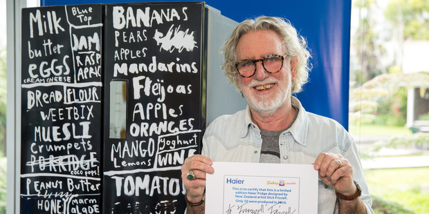 fridge Dick Frizzell has decorated for the charity cooking for change. Photo / Supplied