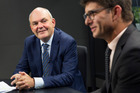 Newly appointed Finance Minister Steven Joyce, left, in the NZME Video Studio with Liam Dann. Photo / Nick Reed