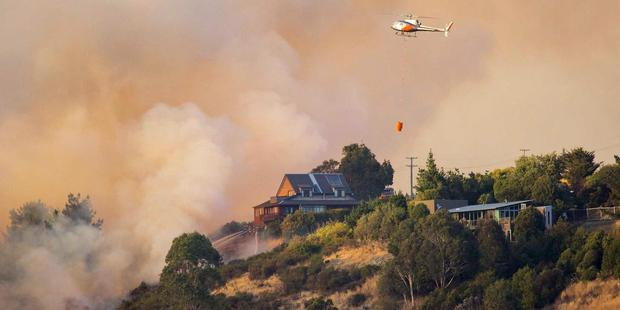 Fires continue to burn in the Port Hills, Christchurch. Photo / via Facebook