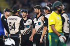 Colin de Grandhomme celebrates with team mates the wicket of du Plessis. International Twenty20 Cricket. New Zealand Black Caps v South Africa. Photo / Photosport.co.nz