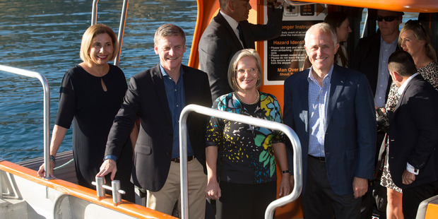 Prime Minister Bill English, his wife, Dr Mary English and Australian Prime Minister Malcolm Turnbull and his wife Lucy on their water taxi in Queenstown. Photo / Mark Mitchell