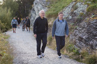 Australian Prime Minister Malcolm Turnbull and Prime Minister Bill English on their walk in Queenstown. Photo / Mark Mitchell