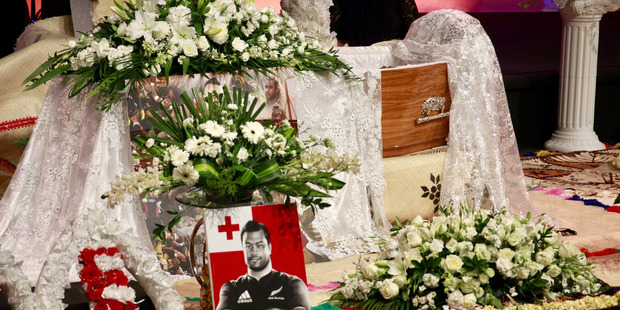 The coffin of Sione Lauaki at his funeral at Church Unlimited. Photo / Nick Reed