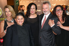 Julian Dennison and his co-stars Rima Te Wiata, Sam Neill and Rachel House. Photo / Steven McNicholl