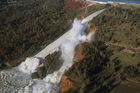 Feb. 11, 2017: Aerial photo released by the California Department of Water Resources shows the damaged spillway with eroded hillside in Oroville, California. Photo / AP
