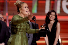 Adele used her acceptance speech for her album of the year award to sing Beyonce's praises instead. Photo / AP