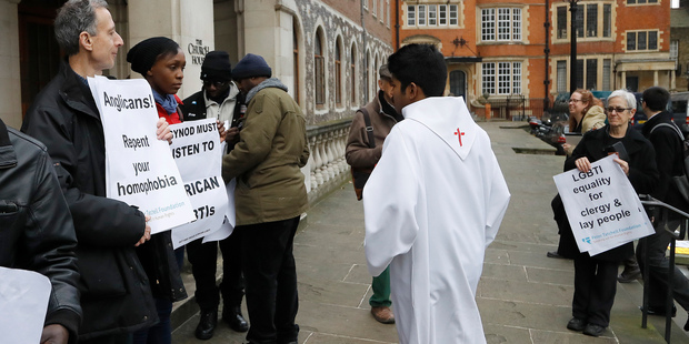 Church leaders gathered at Church Hall in Westminster. Photo / AP