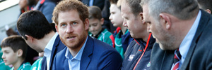 In his new role as Patron of the Rugby Football Union (RFU), Prince Harry attended the England rugby team open training session. Photo / AP
