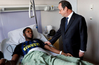President Francois Hollande with Théo at Robert Ballanger hospital in Aulnay-sous-Bois, north of Paris. Photo / AP