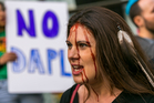 Toyah Browneyes joins opponents of the Dakota Access pipeline protesting outside the Army Corps of Engineers offices in Los Angeles. Photo / AP