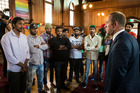 Labour Party leader Andrew Little met with the Indian students at the Auckland Unitarian Church in Ponsonby. Photo / Jason Oxenham