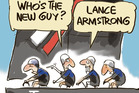 Team NZ sailing have replaced arm-powered grinders with pedal power. Cartoon by Rod Emmerson