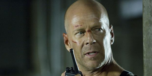 Bruce Willis' hairline receded with each reprisal of his role as action hero John McClane in the Die Hard movies. Photo / Supplied