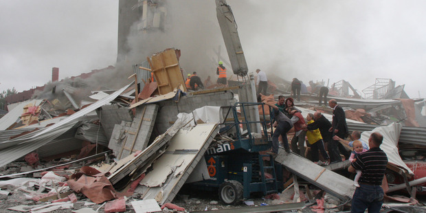 The remains of the collapsed CTV building. Photo / Geoff Sloan