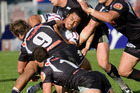 Manly's Steve Matai is brought down during a match against the NZ Warriors. Photo/Richard Robinson