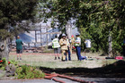 Shed fire off Collinge Road Mayfair, Hastings. 12th February 2017 Hawke's Bay Today Photograph by Paul Taylor.