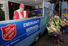 TEAM EFFORT: Salvation Army volunteers were busy feeding emergency services who were fighting the Waimarama Rd blaze yesterday. Photo/Paul Taylor.