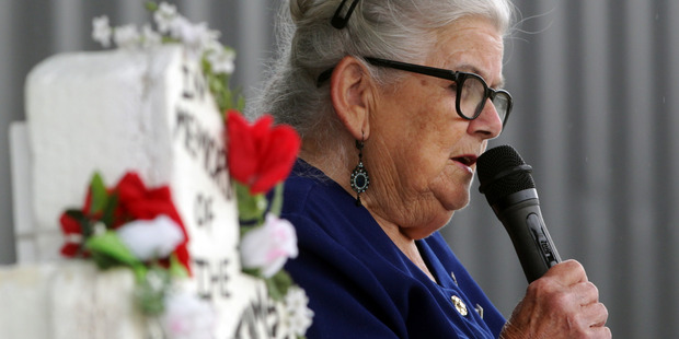 Coleen Davey speaks at the annual memorial service in memory of all murder victims. Photo / Paul Taylor
