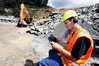 Forrest  Parker logs on to the ConstructSafe test from his workplace, the Clements Contractors quarry in Whangarei. PHOTO/John Stone
