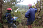 Ecologist Nan Pullman and former owner David Underwood survey the river flats from the highest point in a new scenic and wildlife reserve due to open near Dargaville on Sunday.