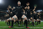 Kieran Read of the All Blacks leads the haka during the Bledisloe Cup Rugby Championship. Photo / Phil Walter
