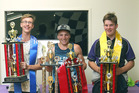 2017 Tubby Norriss Memorial Ministocks in Paradise podium (Left to Right):  2nd 45K Dion Henderson; 1st 96R Dylan Towler; 3rd 89S Bradley Podjursky. Photo: Graham Hughes/SportsWeb Photograhy