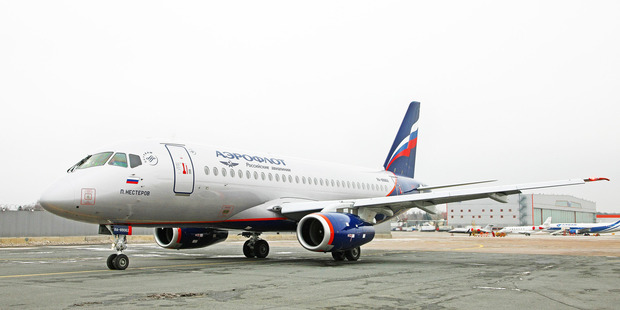 An Aeroflot Sukhoi Superjet 100 which can carry 87 passengers in a two class configuraton.