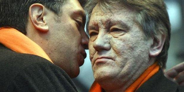 Boris Nemtsov (left) with former Ukrainian president Viktor Yushchenko. Photo / AP