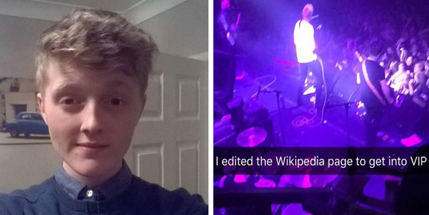 Adam Boyd, left, edited a Wikipedia page to get into a concert. Photos/Facebook