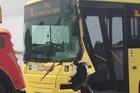 The bus involved in a crash at Maungatapu Bridge is towed. Photo/George Novak