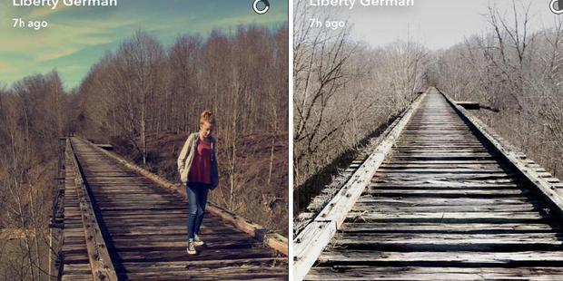 Liberty German posted these Snapchats of Abigail Williams at Monon High Bridge Trail close to where they started hiking around 2.07pm yesterday. Photo / Liberty German Snapchat