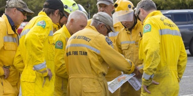 Fire crews plan their next move tackling the massive wildfire burning on Christchurch's Port Hills.  Photo / Christchurch City Council