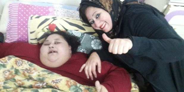 Eman Ahmed Abd El Aty cannot move from her bed and has not left her house for 25 years before the trip. Photo / Supplied via bitgiving.com/SaveEmanCause