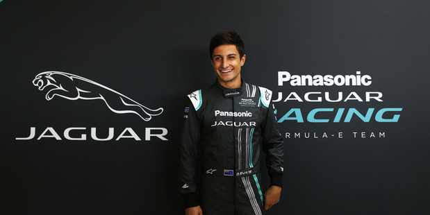Panasonic Jaguar Racing driver Mitch Evans poses for a photo opportunity. Photo / Jaguar Racing