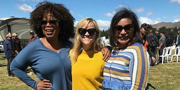 Loading Hollywood stars Oprah Winfrey, Reese Witherspoon and Mindy Kaling on the set of A Wrinkle in Time.