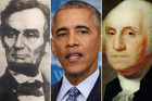 Abraham Lincoln, Barack Obama and George Washington.