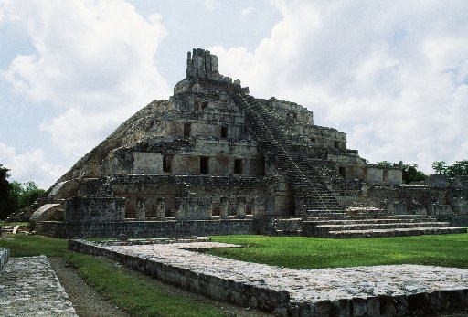 The Five-tier pyramid, Great Acropolis, Edzna, Campeche.